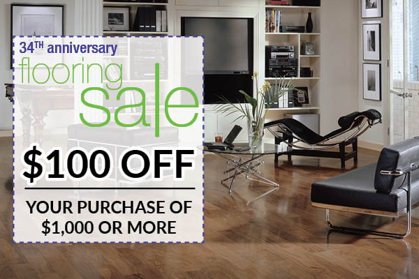 $100 off your purchase of $1,000 or more during the 34th anniversary flooring sale this month at Floors To Go in Monroeville!