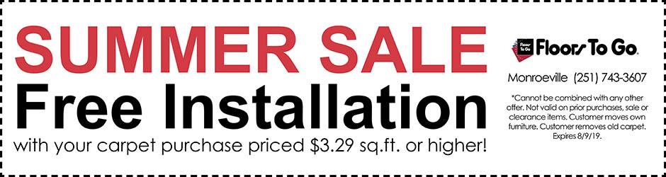 Free installation with your carpet purchase priced $3.29 sq.ft. or higher with coupon.